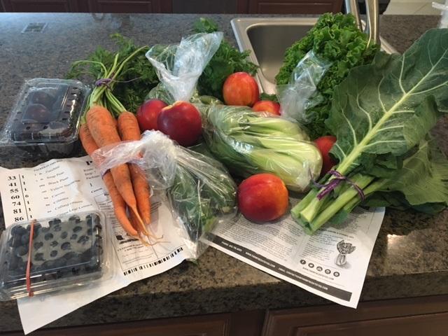 organic vegetables, carrots, greens,