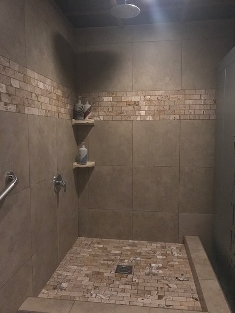 shower, tiled, tile in shower, shower design