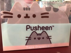 Pusheen, Cat, subscription box, blanket, tape dispenser, photo clips, slippers, water bottle