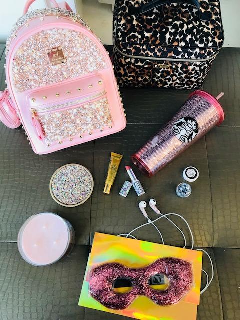 Glitter, Sparkle, Starbucks, Victoria's Secret, Bath and Body Wworks Glitter Candle, Eye Mask, Crystal Ear Buds, Leopard