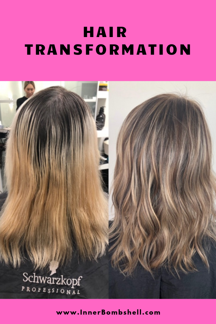 Hair transformation from brassy blonde to beautiful light brown hair color.